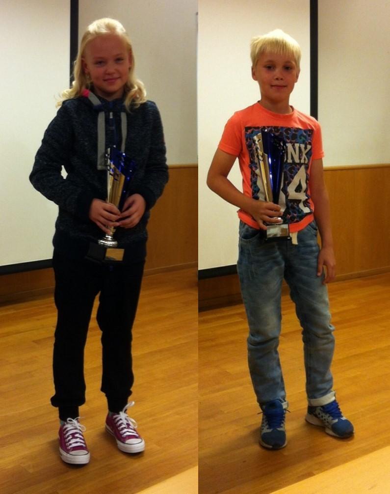Vuoden tyttöjuniori Sinna Varjonen ja vuoden tulokas Vili Paalasmaa.